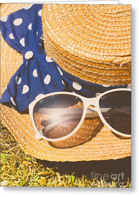 Close Up Summer Straw Hat On The Sun Flare Grass  Greeting Card by Jorgo Photography - Wall Art Gallery