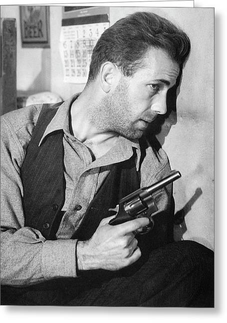 Close-up Up Of Humphrey Bogart As Duke Mantee With Gun The Petrified Forest 1936 Greeting Card