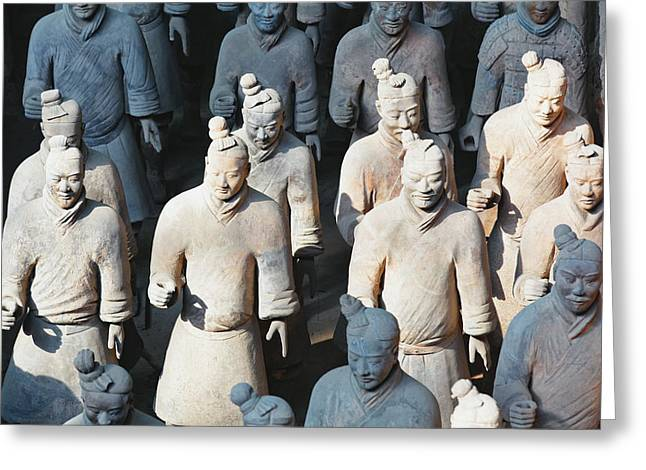 Close Up View Of Terracotta Warriors Greeting Card by George Oze