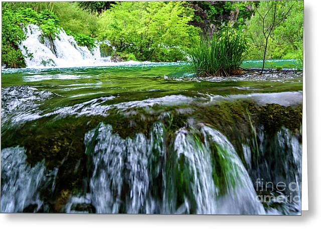 Close Up Waterfalls - Plitvice Lakes National Park, Croatia Greeting Card