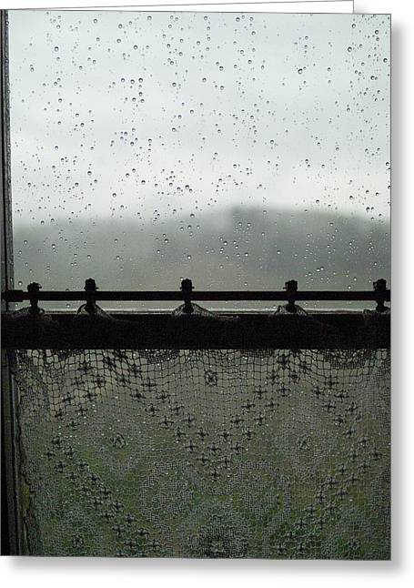 Close View Of A Rain Speckled Window Greeting Card