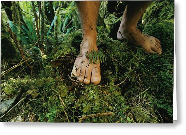 Close View Of Bare Feet On Moss-covered Greeting Card
