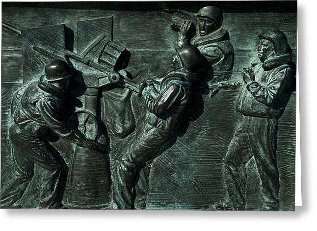 Close View Of Bronze Relief Sculpture Greeting Card by Todd Gipstein