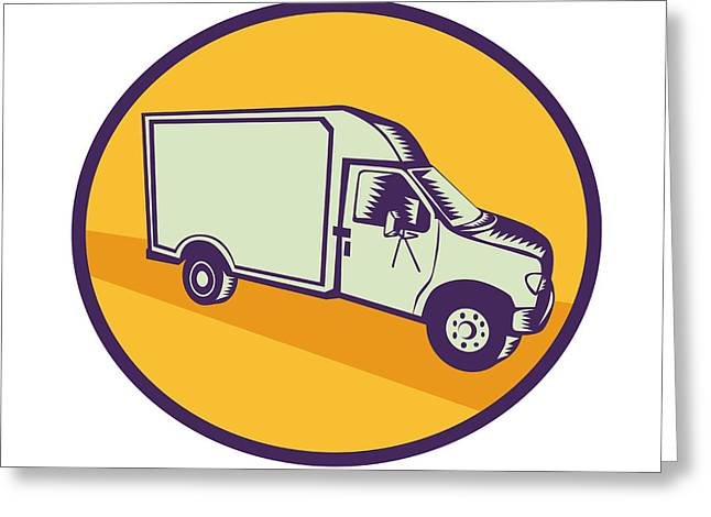 Closed Delivery Van Woodcut Greeting Card by Aloysius Patrimonio