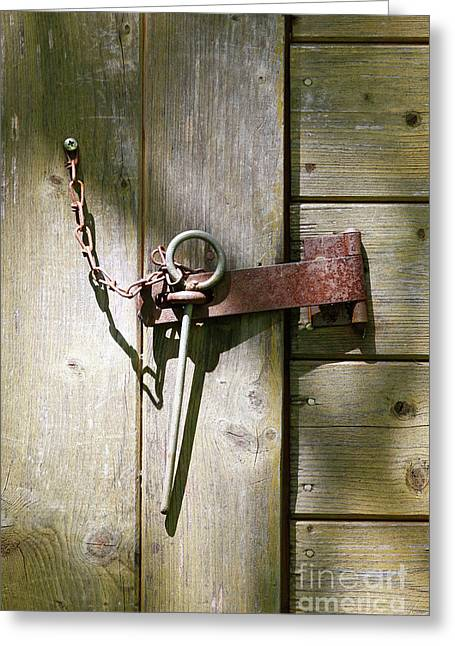 Closed Door - Safety Pin Greeting Card by Michal Boubin