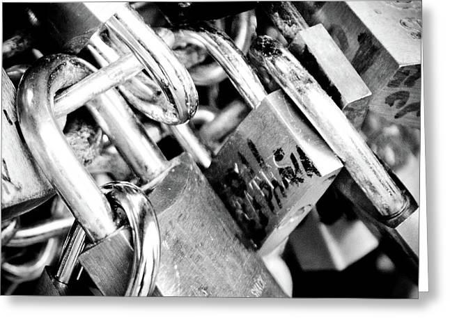 Closed Locks Padlocks On The Saint Angelo Bridge Ponte Sant Angelo Rome Italy Greeting Card