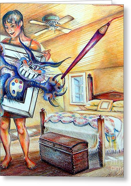 Greeting Card featuring the drawing Closet Artist by Linda Shackelford