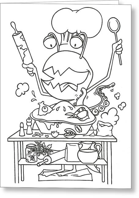 Closet Monster Baking Greeting Card