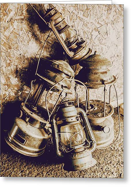 Closeup Of Antique Oil Lamps Greeting Card by Jorgo Photography - Wall Art Gallery