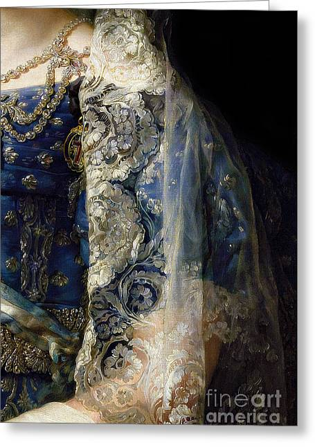 Closeup Of Antique Spanish Lace Mantilla, Detailed Dress Greeting Card by Tina Lavoie