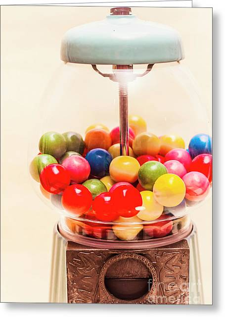 Closeup Of Colorful Gumballs In Candy Dispenser Greeting Card by Jorgo Photography - Wall Art Gallery