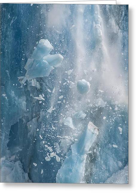 Closeup Of Dawes Glacier Calving Greeting Card