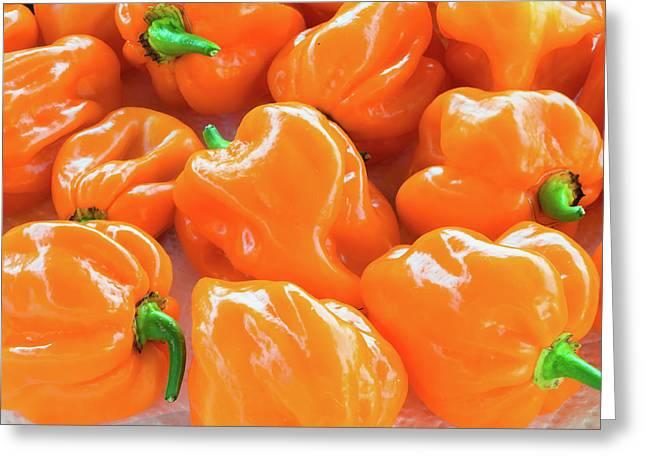 Closeup Of Fresh Chillies Habanero Orange Greeting Card