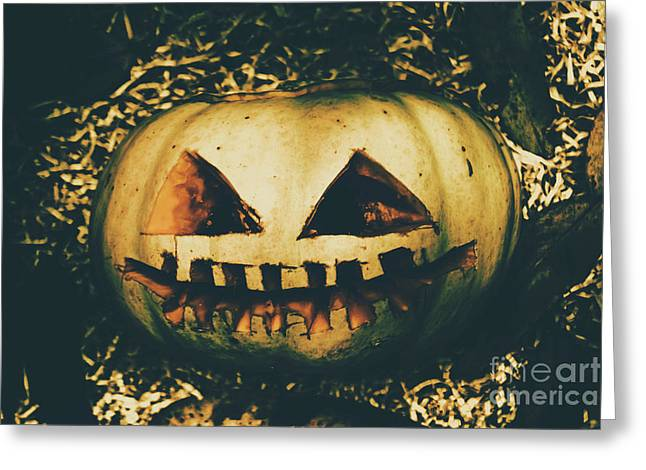 Closeup Of Halloween Pumpkin With Scary Face Greeting Card
