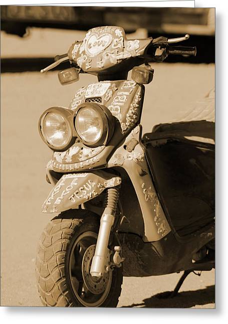 Closeup Of Jesus Scooter In Sepia Greeting Card