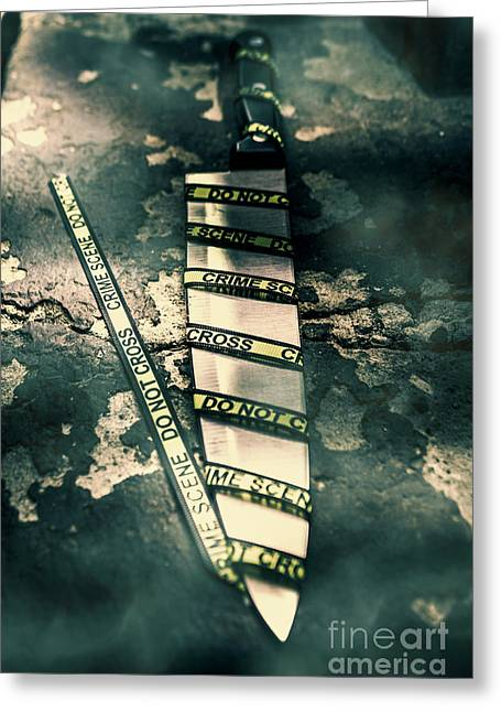 Closeup Of Knife Wrapped With Do Not Cross Tape On Floor Greeting Card by Jorgo Photography - Wall Art Gallery