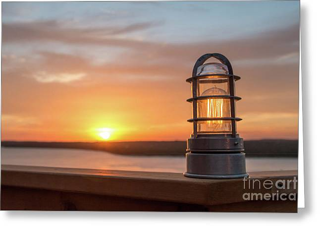 Closeup Of Light With Sunset In The Background Greeting Card