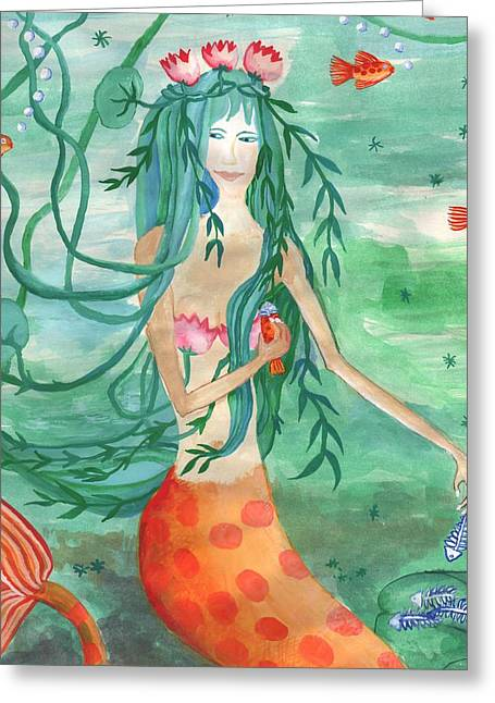 Closeup Of Lily Pond Mermaid With Goldfish Snack Greeting Card by Sushila Burgess