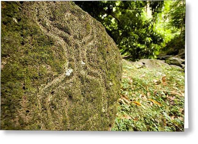 Closeup Of Petroglyph, Fatu Hiva Island Greeting Card