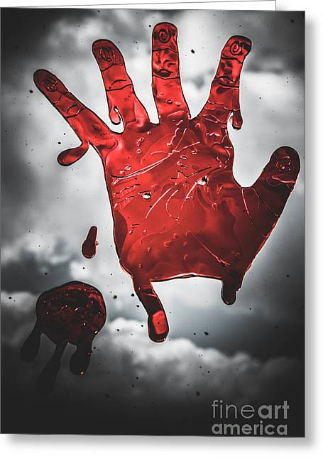 Closeup Of Scary Bloody Hand Print On Glass Greeting Card