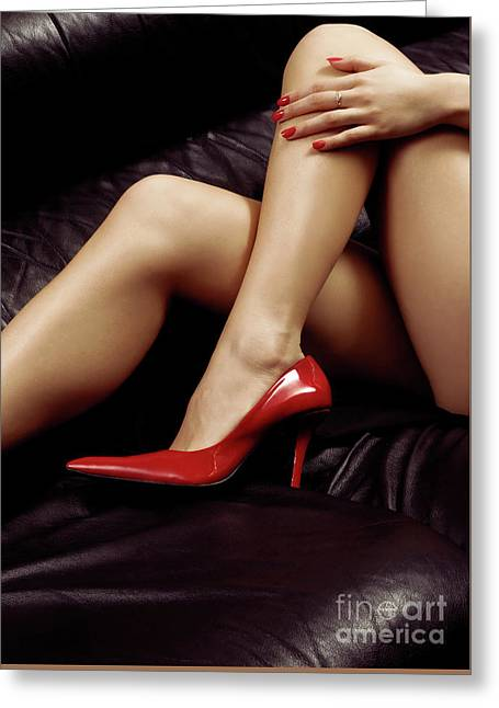 Closeup Of Sexy Bare Legs In Red High Heels Greeting Card