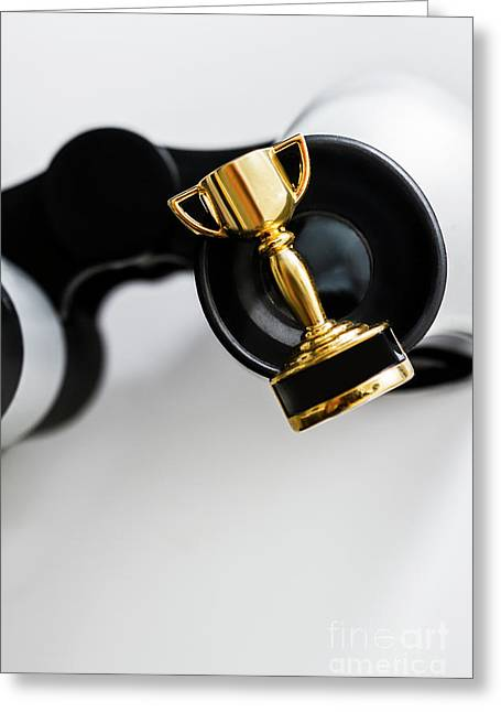 Closeup Of Small Trophy And Binoculars On White Background Greeting Card