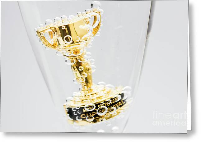 Closeup Of Small Trophy In Champagne Flute. Gold Colored Award I Greeting Card