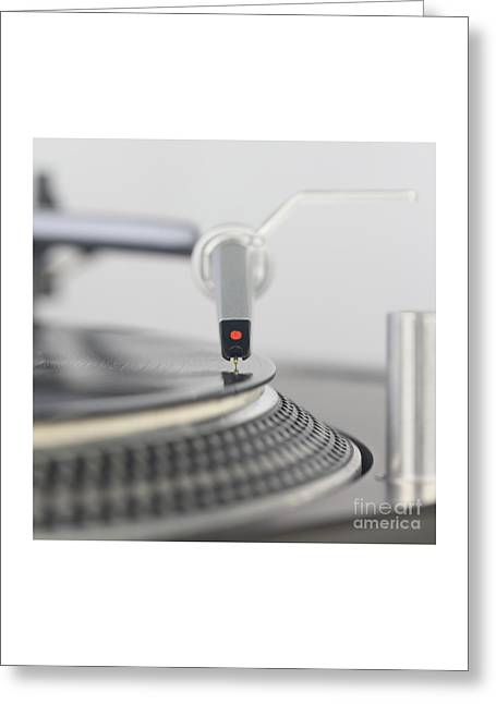 Closeup Of The Legendary Technics Sl 1200 Mk2 Turntable Greeting Card