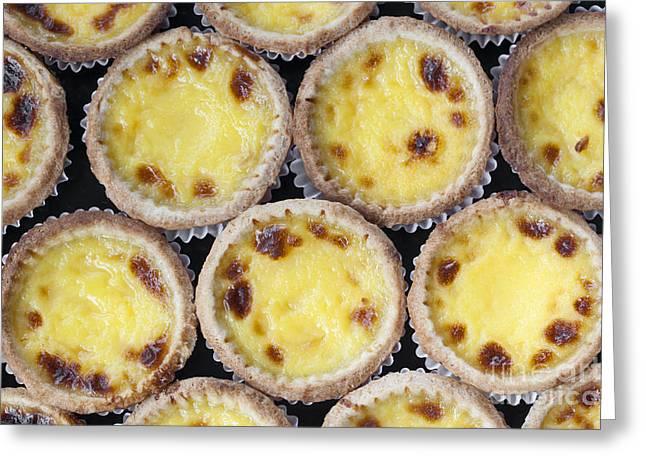 Closeup Of Typical Portuguese Dessert Pastry De Nata Greeting Card