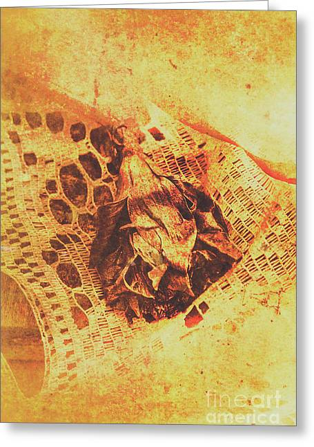 Closeup Of Wilted Daffodil On Fabric Greeting Card