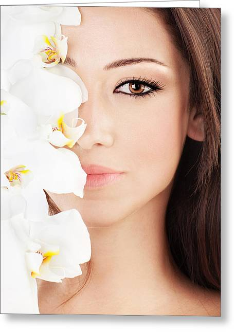 Beautiful Face Greeting Cards - Closeup on beautiful face with flowers Greeting Card by Anna Omelchenko