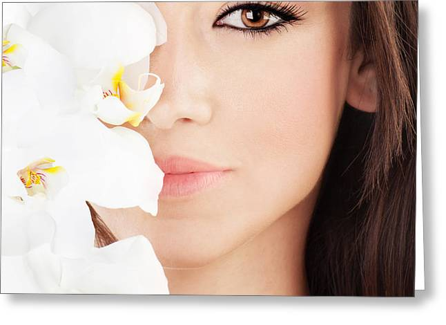 Closeup on beautiful face with flowers Greeting Card by Anna Omelchenko