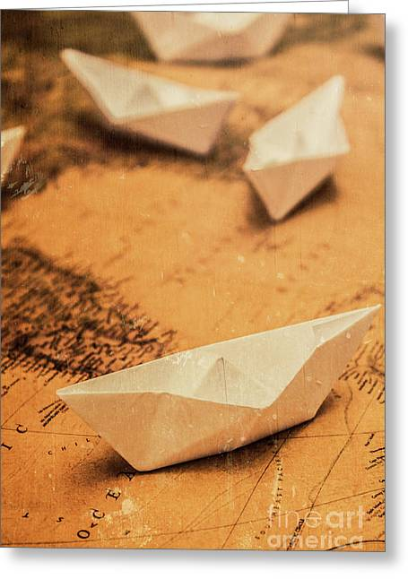 Closeup Toned Image Of Paper Boats On World Map Greeting Card