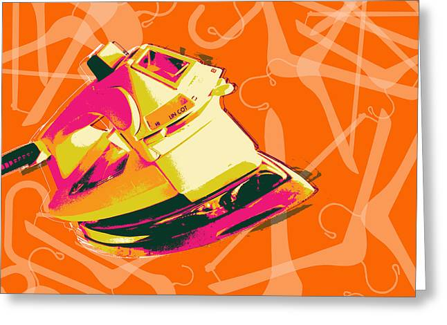 Clothes Iron Pop Art Greeting Card