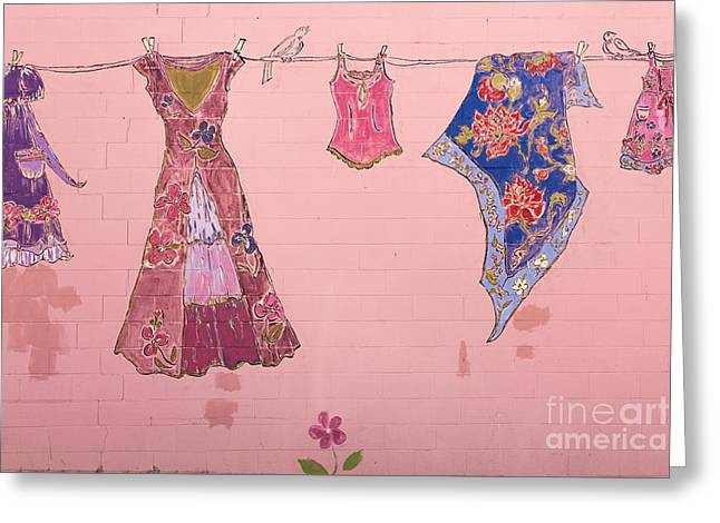 Clothes Line Mural Burlington Vermont Greeting Card by Edward Fielding