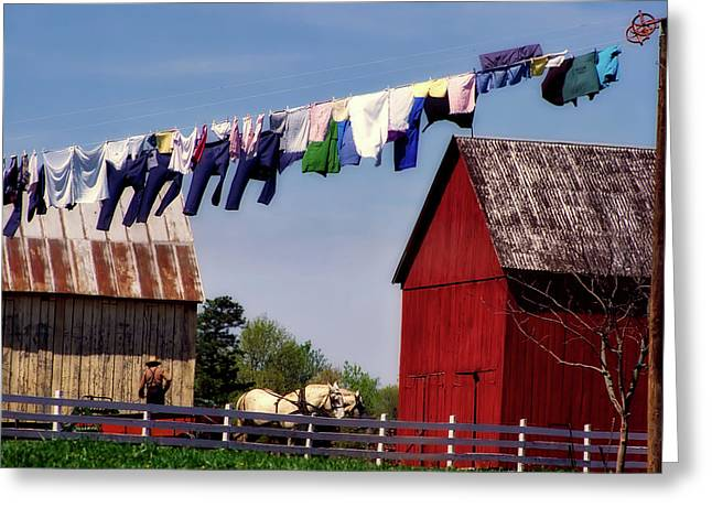 Clothes On The Line - Amish Farm Greeting Card