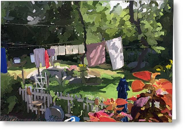 Clothesline And Coleus In An East Gloucester  Ma Garden  Greeting Card