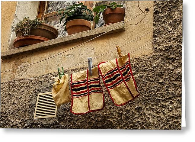 Clothesline In Biot Greeting Card