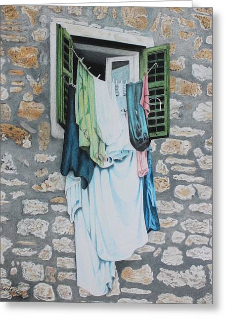Clotheslines In Dobrovnik Greeting Card by Wilfrid Barbier