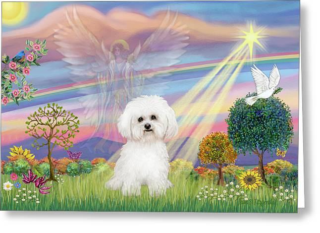 Cloud Angel And Bichon Frise Greeting Card