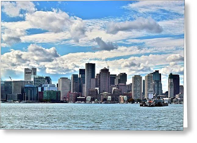 Cloud Covered Boston Harbor Greeting Card