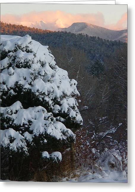 Greeting Card featuring the photograph Cloud Dance Of The Seven Veils Over First Snow by Anastasia Savage Ealy