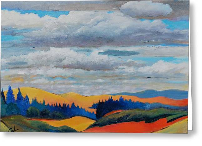 Cloud Lines Greeting Card by Gary Coleman