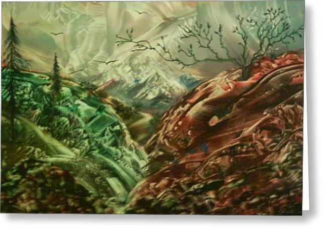 Cloud Mountain Greeting Card by John Vandebrooke