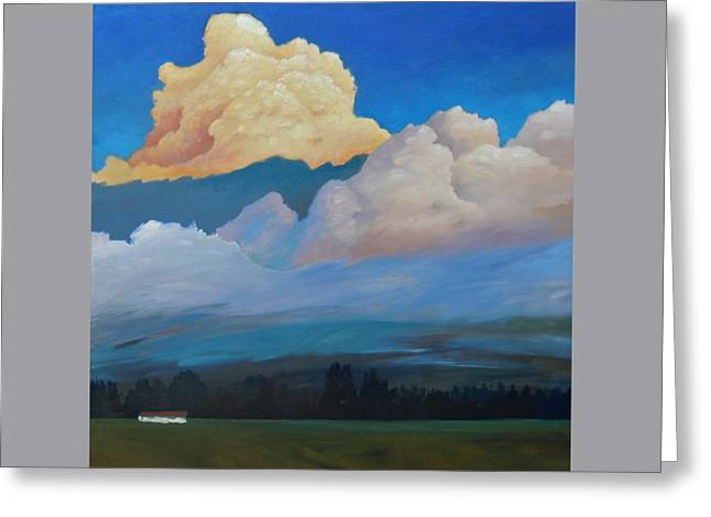 Greeting Card featuring the painting Cloud On The Rise by Gary Coleman