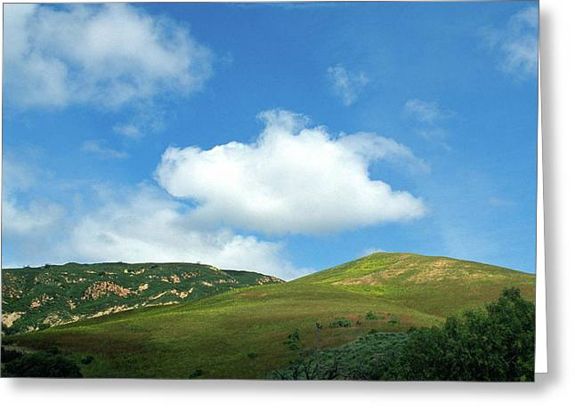 Cloud Over Hills In Spring Greeting Card by Kathy Yates