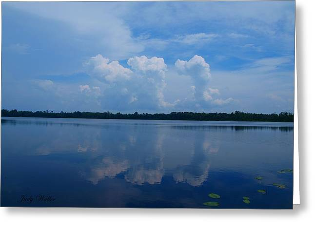 Cloud Reflections Greeting Card by Judy  Waller