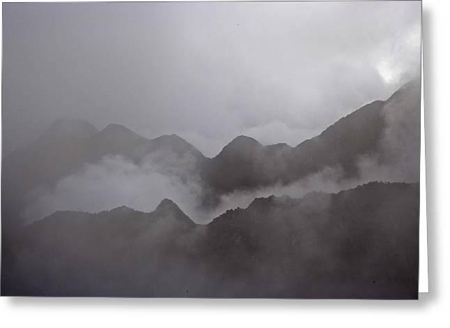 Cloud Shrouded Machu Picchu Greeting Card by Michael Melford