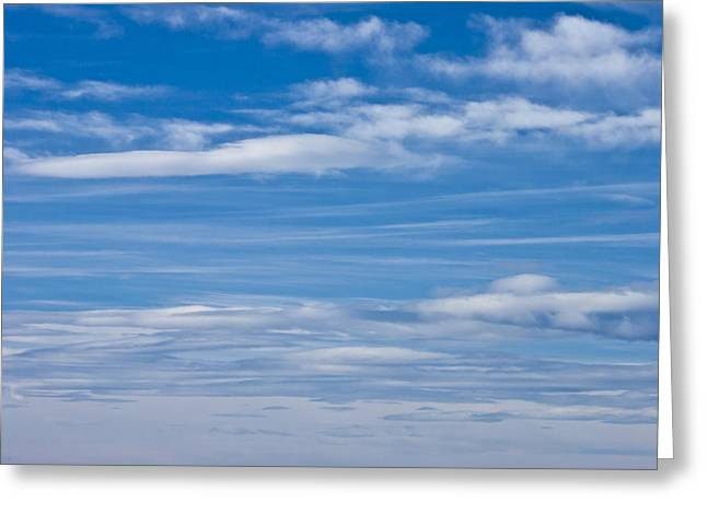 Cloud Streaked Blue Sky Greeting Card by Sandra Foster