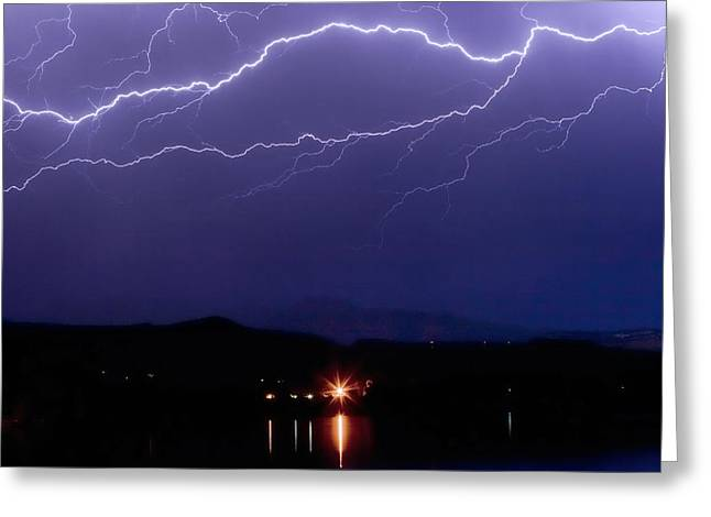 Cloud To Cloud Horizontal Lightning Greeting Card by James BO  Insogna